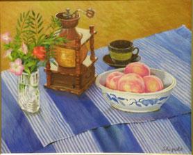 桃のある静物 油彩15号