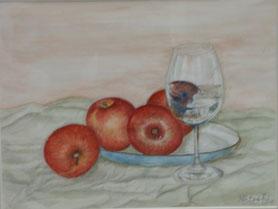 グラス&リンゴ 水彩6号