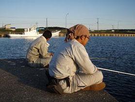 調査後は、日が暮れるまで港にて釣り。 どんな魚種が生息しているのか調査するとともに、おかずを獲得します。