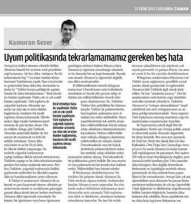 """""""Diese fünf Fehler sollten wir in der Integrationspolitik nicht wiederholen"""", Zaman AVRUPA"""