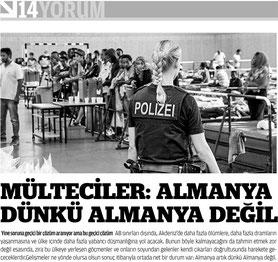 """""""Flüchtlinge: Deutschland ist nicht mehr das Deutschland von gestern"""", Zaman AVRUPA"""