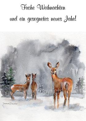 Rehe, Schnee, Weihnachten und Neujahrswünsche
