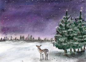 Reh im Schnee, violett Nacht Wald