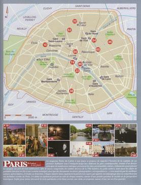 Les articles sont localisés sur un plan de Paris. Temple de Paris