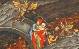 L'Enfer de Dante sur un manuscrit italien de La Divine Comédie, chant XXI. Miniature XIVe siècle. TEMPLE DE PARIS