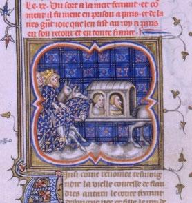Philippe Auguste ramenant Ferdinand de Portugal, comte de Flandre, fait prisonnier à la bataille de Bouvines.Grandes Chroniques de France, Paris XIVe BnF. Temple de Paris