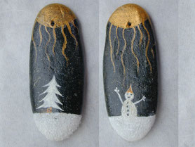 double face - Sapin et bonhomme de neige acrylique blanc, soleil doré - vernis satiné - galet gris anthracite percé