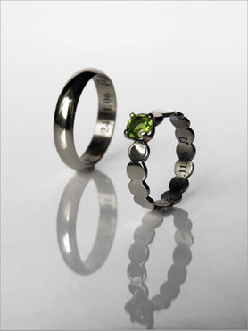 Wedding ring - white gold and peridot - Nelly Chemin