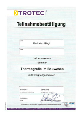 Zertifikat Karlheinz Riegl Termografie im Bauwesen