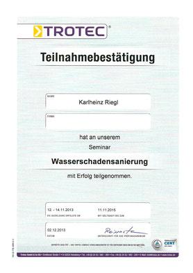 Zertifikat Wasserschadensanierung Karlheinz Riegl