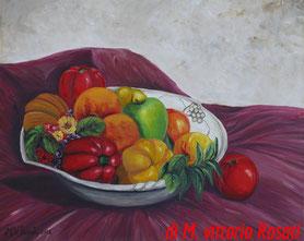 vassoio di ceramica con frutta, olio su tela cm 40x50, 2012 NON DISPONIBILE