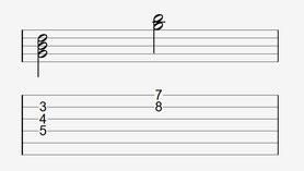 Bei der zweiten Umkehrung von G wandert die Terz eine Oktave höher über den Grundton.