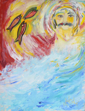 Baba is the Ocean of Love ; Oil painting