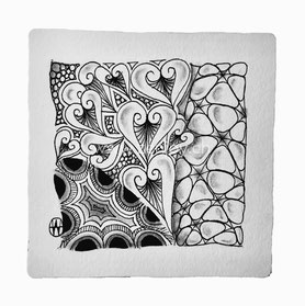 Zentangle Tile by Zenjoy Olluan N'Zeppel Crescent moon
