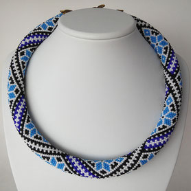 Blue embroidery Necklace, Teal Necklace, Ukrainian embroidery, Boho necklace, Bead Crochet, gift Women, national jewelry, luxury jewelry
