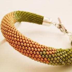 Beadwork Bracelet, Gold Bracelet, ukrainian jewelry, casual bracelet, fashion bracelet, olive bracelet, office bracelet, classic bracelet, SALE bracelet, Bead Crochet bracelet, boho jewelry, boho bracelet, green bracelet