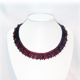 Garnet Necklace, Bead Crochet, ukrainian jewelry, Handmade, Beadwork,  gift for women, Native Jewelry, Bead Crochet Necklace, Women Necklace,  elegant minimalism simple Casual mom gift