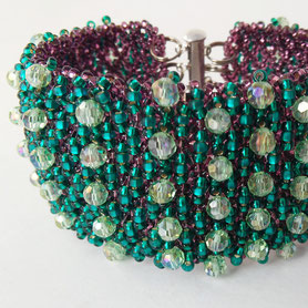 Prom bracelet, Emerald evening bracelet, Shine Bracelet grid, wide bracelet, Green violet bracelet, Boho, crystal glass, gift for Women