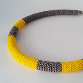 Stylish Minimalism Necklace, Yellow Grey Bead Crochet Necklace, Office Necklace, Gift for women, Everyday Necklace, Simple necklace