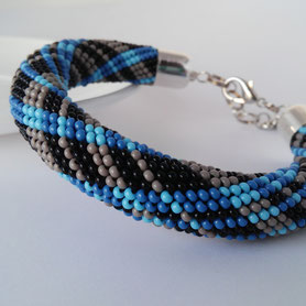 Denim teal Beadwork Bracelet Geometric Jeans checkered Blue Grey Bead Crochet Bangles gift for women her must have jewelry