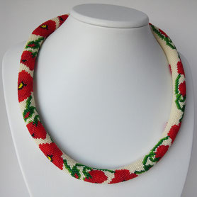 Poppies necklace, flowers necklace, red white necklace, jewelry, buy necklace, Casual necklace, Ethno style, Boho, ethnic necklace,  Red Necklace Poppies Flower Green White Beadwork Women gift Jewelry Prom Luxury Thin Office Jewelry Bead Crochet elegant