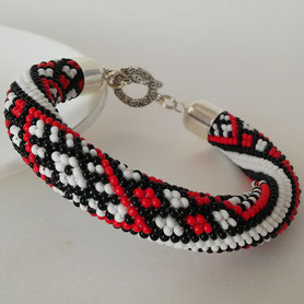 Ukrainian embroidery Bracelet, Women Boho bracelet, Bead Crochet Bracelet, Red Beadwork Bracelet, Mother's Day Gift, Gift for women