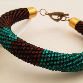 copper Bracelet, turquoise, Beadwork Bracelet, Bead Crochet, ukrainian jewelry, gift for her, women bracele, geometric bracelet, green bracelet, bronze bracelet, coffee bracelet, chocolad