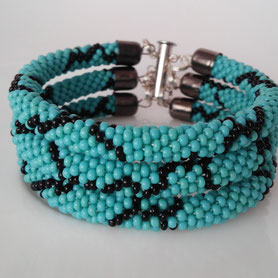 Turquoise Bracelet, Teal Everyday bracelet, 3 Strand Bead Crochet Bracelet, Beadwork Bracelet, Boho bracelet, gift for Women, perfect gift