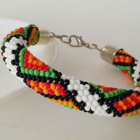 Bukovynian embroidery Bracelet, Beadwork Bracelet, Bead Crochet, ukrainian jewelry, Native Boho Beadwork Bracelet Orange Wedding Jewelry White Black Green Multicolor Ukrainian embroidery Women Gift Bead Crochet bracelet