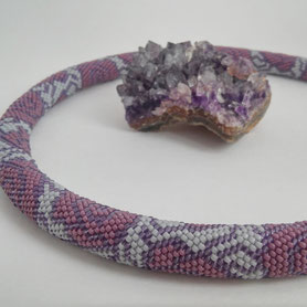 Jewelry, casual necklace, bead crochet necklace, Beaded Necklace, boho necklace, buy necklace, ukrainian necklace, office necklace, toho beads, rose necklace, violet, grey, Women beadwork pink wedding pastel purple gray necklace flower winter rose Gift