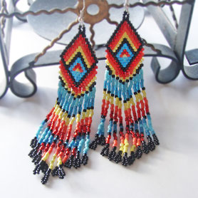 Native American Earrings, сережки, делика, Dangle & Drop Earrings, Oriental earrings, Handmade, Extra Long Earrings, ukrainian jewelry, boho earrings, Ethnic earrings, delica earrings