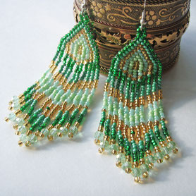 Green Gold Earrings, сережки, делика, зеленый, золотой, Dangle & Drop Earrings, Oriental earrings, Handmade, Extra Long Earrings, ukrainian jewelry, boho earrings, Ethnic earrings, delica earrings