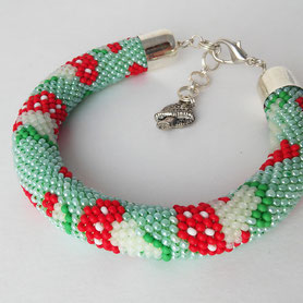 Mushroom beadwork Bracelet Green Red children cute Boho bracelet Everyday Bead Crochet gift for Women her kids casual birthday gift
