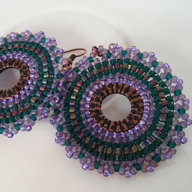 Mandala earrings Yoga Women gift Purple Green Boho Jewelry long Tribal Circle Dangle Drop Prom Fluorite must have Jewelry