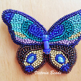 Women Butterfly beadwork Blue embroidery brooch, Gift for woman, Insect Jewelry, Butterfly beaded pin for bags, coat or sweater, mom gift