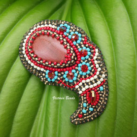 Aventurine paisley beadwork embroidery brooch Red turquoise bronze pin Blue Gift for woman Jewelry beaded mom gift