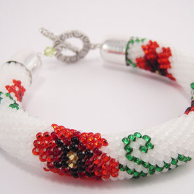 Poppies Bracelet, Beadwork Bracelet, Bead Crochet, ukrainian jewelry, Red Poppy Bracelet White Beadwork Flower Everyday Bead Crochet Bracelet Gift for women her Bangles boho beaded green Bracelet