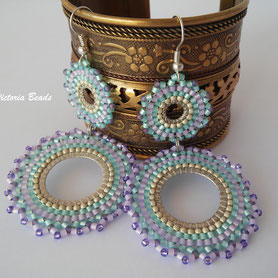 Mandala earrings Purple pink mint teal boho Tribal Dangle Drop Lavender yoga blue gift Women Jewelry Long Circle Prom native american