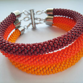 Terracotta 3 Strand bracelet, Orange Yellow Brown Bracelet, Boho Bracelet, 3 Strand Bead Crochet Bracelet, Beadwork Bracelet, gift for Women