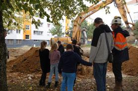 Photo du site d'Abbeville : les fouilles dans le quartier de l'ESpérance, 18 au 20 octobre 2016
