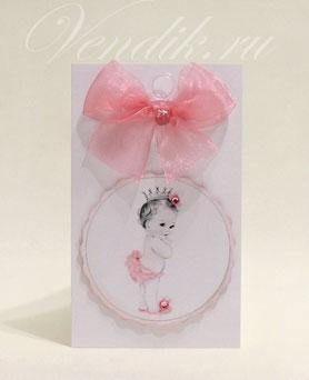 Открытка ручной работы и торт из памперсов- подарок для новорожденной девочки