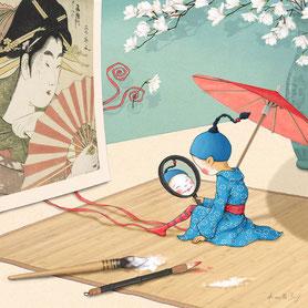 illustration,Timeliot se deguise en geisha japonaise