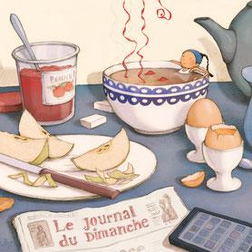 illustration,Timeliot prend son bain dans une tasse de thé