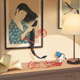 Timeliot coiffe les cheveux d'une femme dans une estampe japonaise
