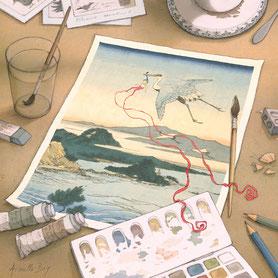 illustration,Timeliot est emporté par un héron dans une estampe japonaise