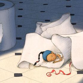 Timeliot dort dans du papier toilette