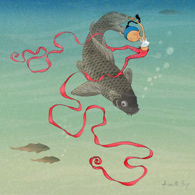 Timeliot danse avec un poisson dans l'eau