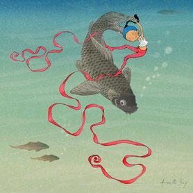 illustration,Timeliot danse avec un poisson dans l'eau