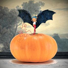 illustration,Pour halloween, Timeliot est grimpé sur une citrouille