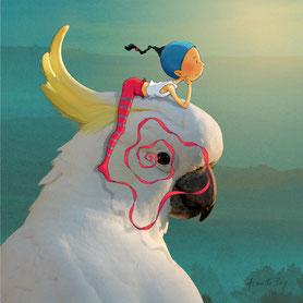 Timéliot est sur la tête d'un cacatoès et regarde le coucher de soleil